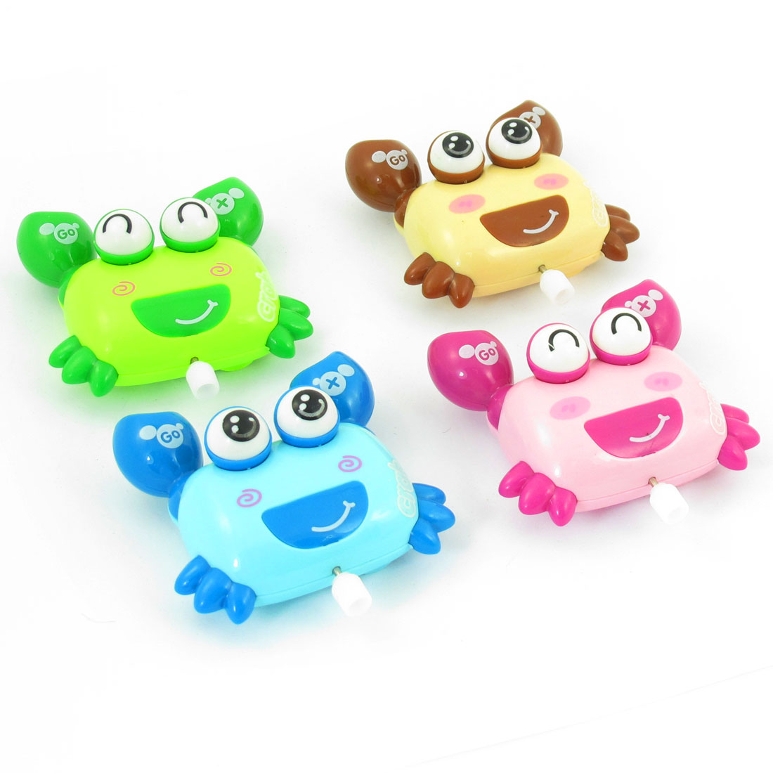 4 Pcs Assorted Color Plastic Crab Design Wind Up Toys for Kids