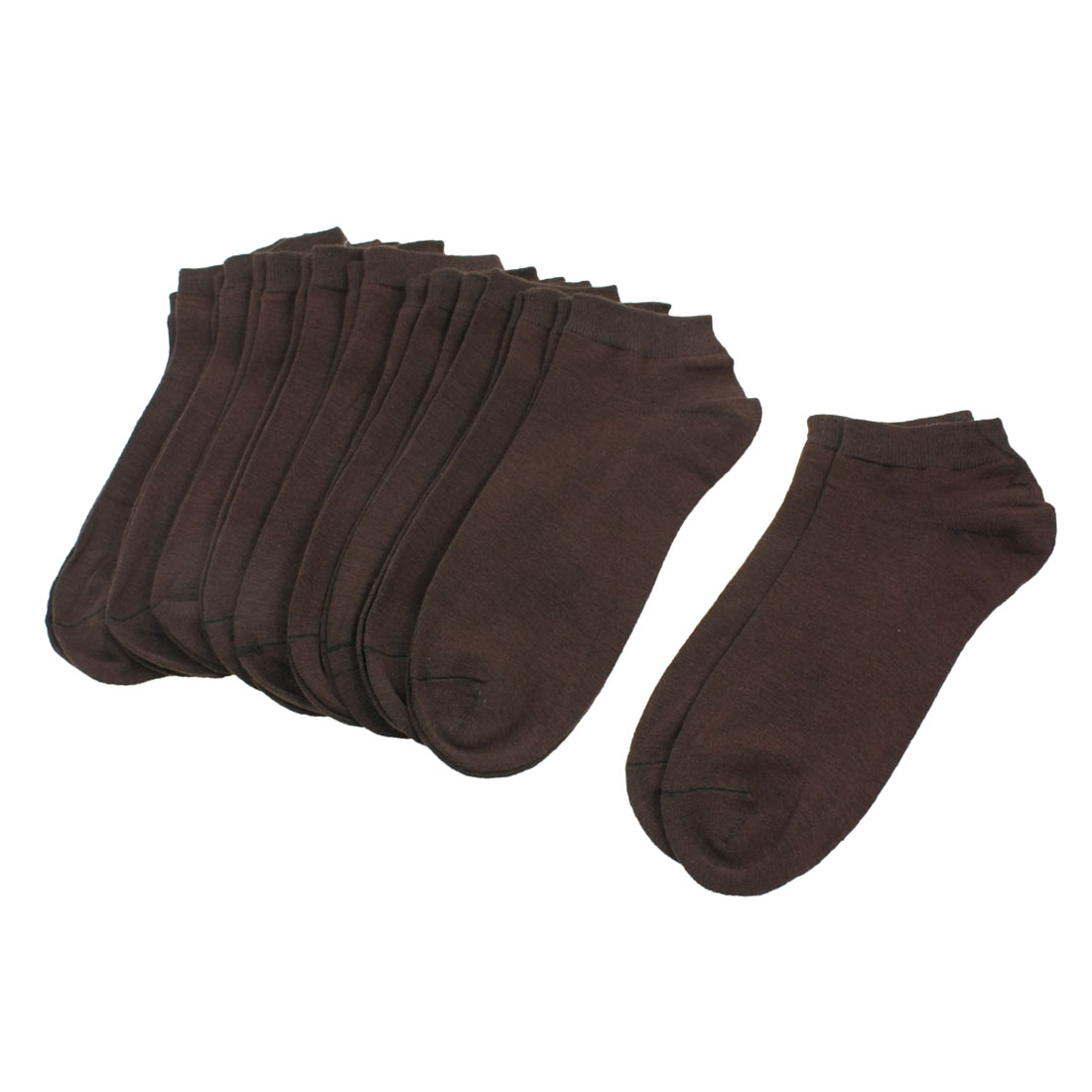 Man Men Elastic Cuff Textured Low Cut Sheer Socks Coffee Color 10 Pairs