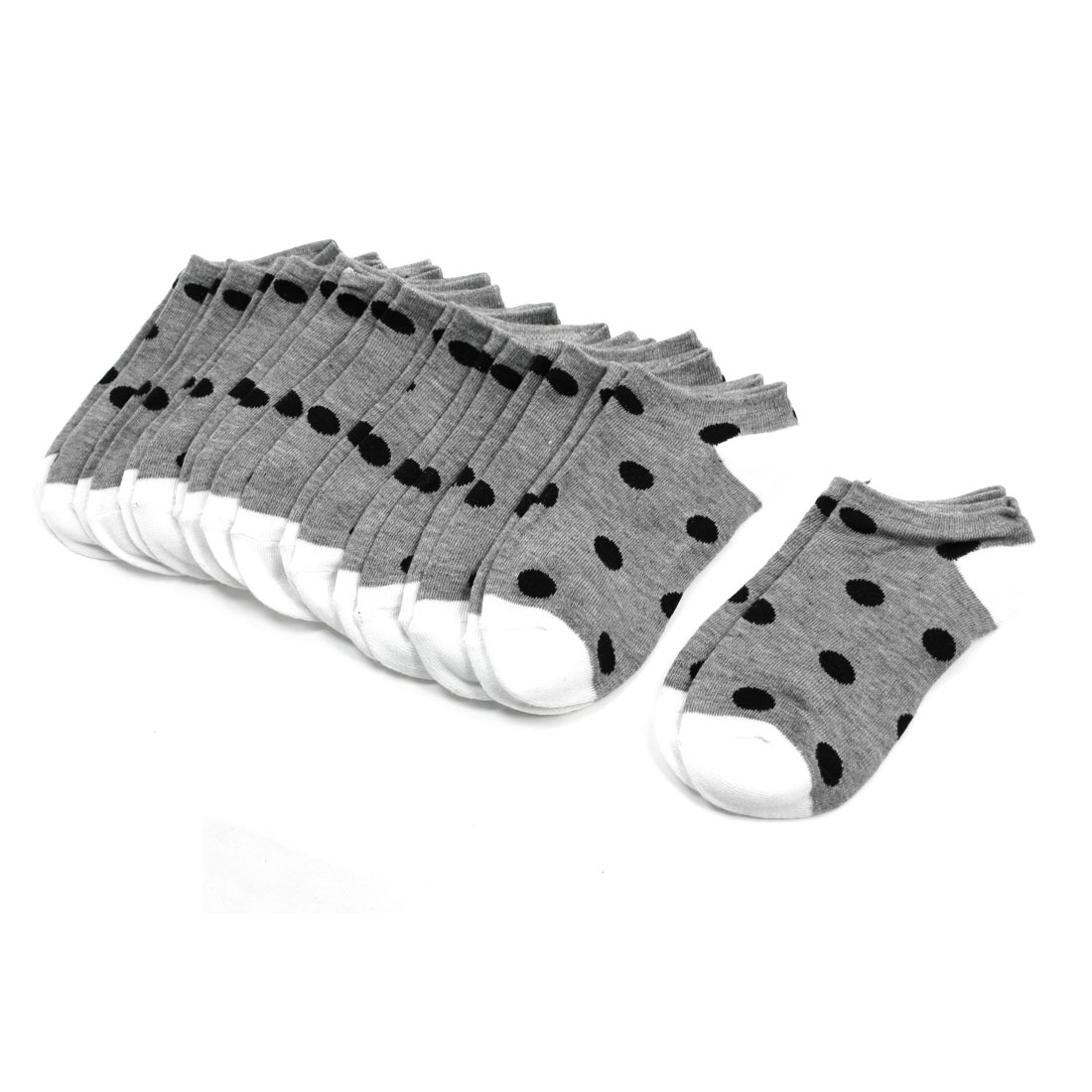 Girls Black Dot Pattern Textured Elastic Footsie Gray Low Cut Socks 10 Pairs