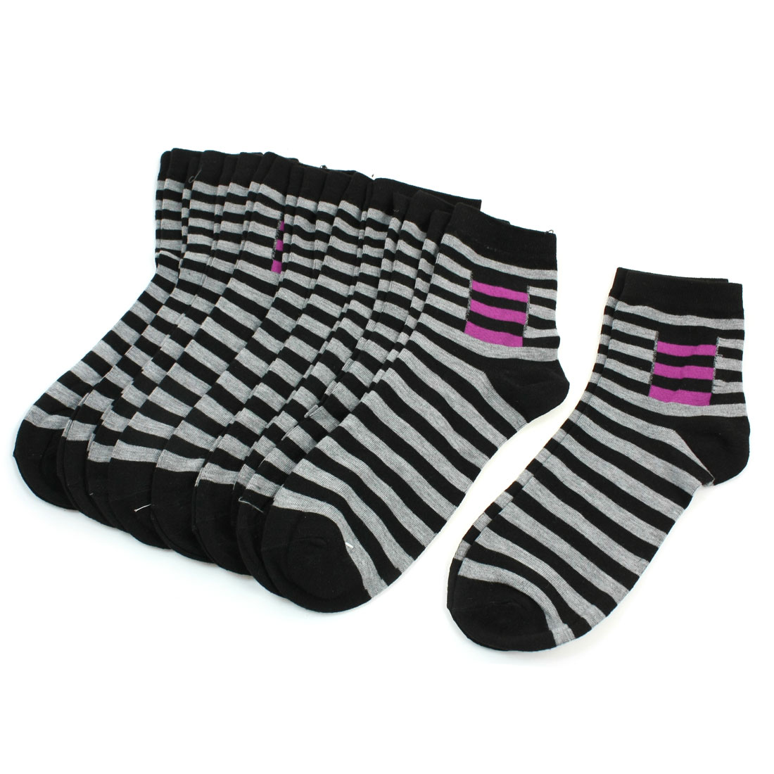10 Pairs Stripe Pattern Elastic Ankle High Sock 4 Color for Man Men