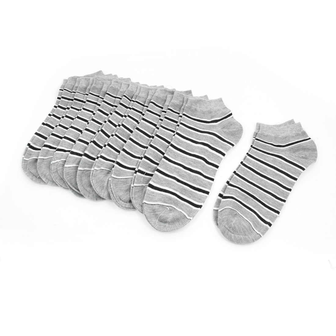 Man Multi Color Stripes Printed Strech Low Cut Ankle Sock 10 Pairs