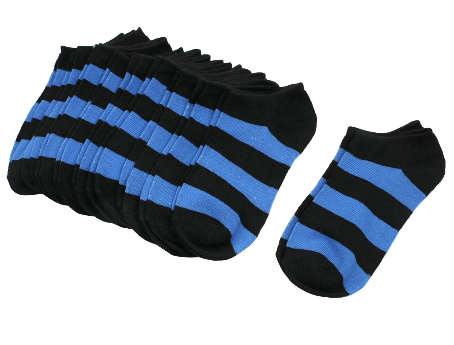 Girls Stripe Pattern Stretch Low Cut Ankle Socks Hosiery Blue Black 10 Pair