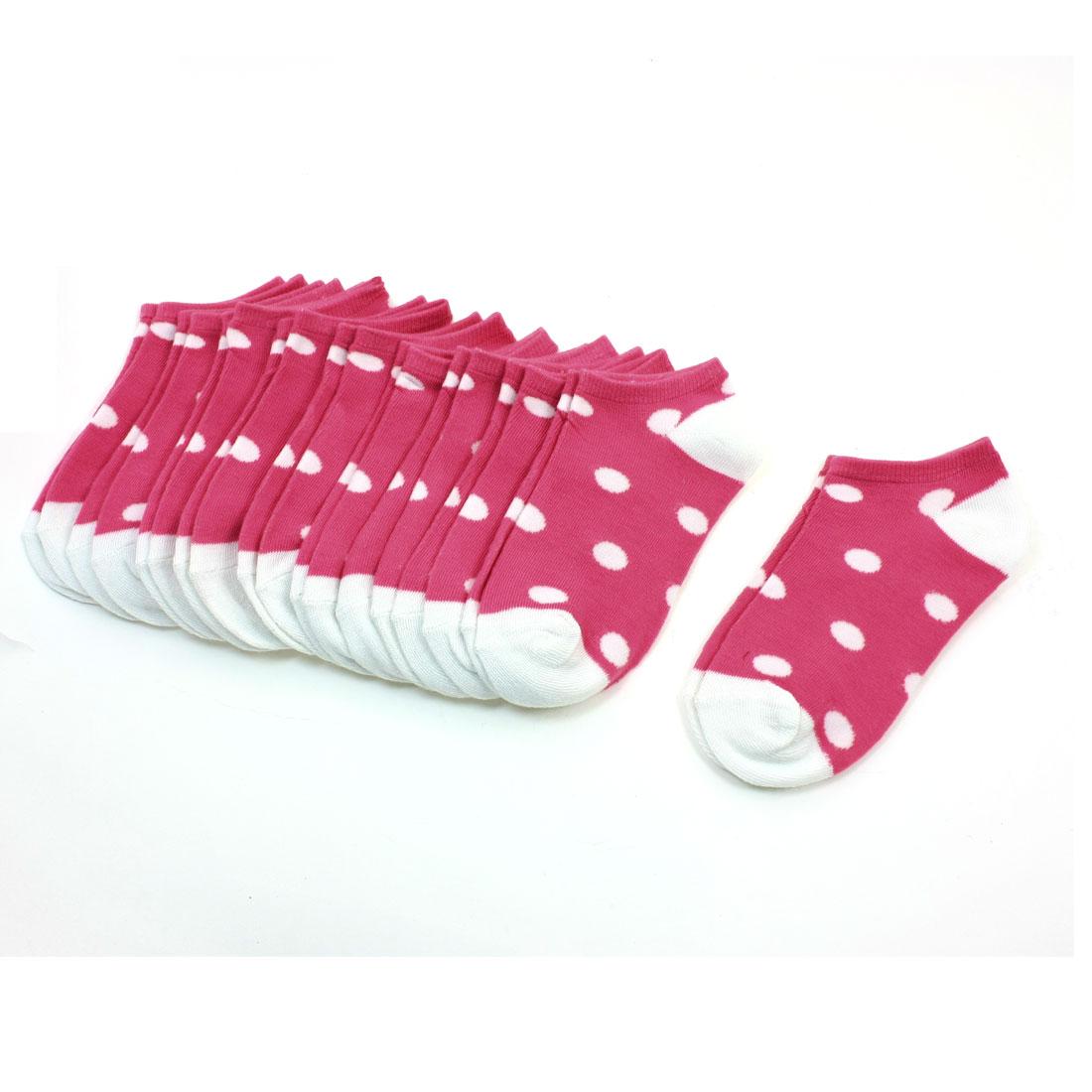 Girls Dot Pattern Textured Elastic Footsie Low Cut Socks Pink White 10 Pairs