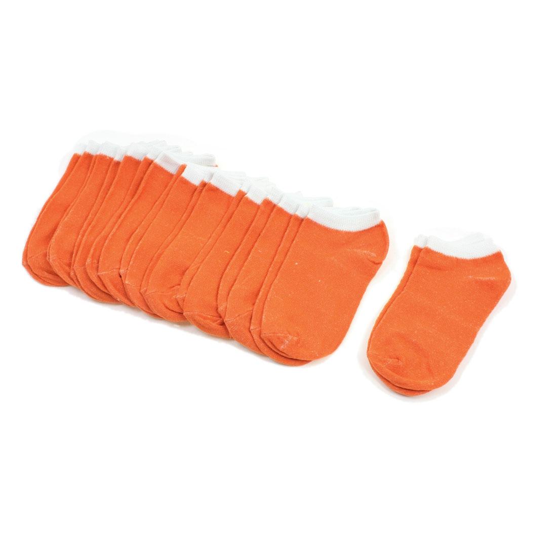 10 Pair Leisure Sport Girl Stretch Ankle Low Cut Socks Orange White