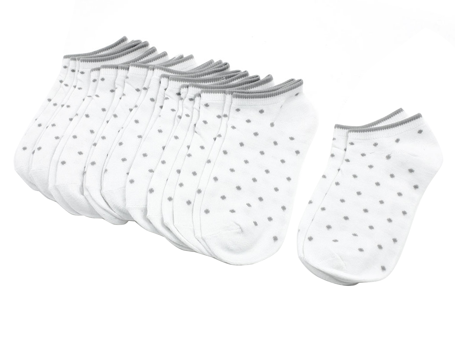 10 Pairs Gray Dots Detailing Stretchy White Ankle Low Cut Socks for Girls