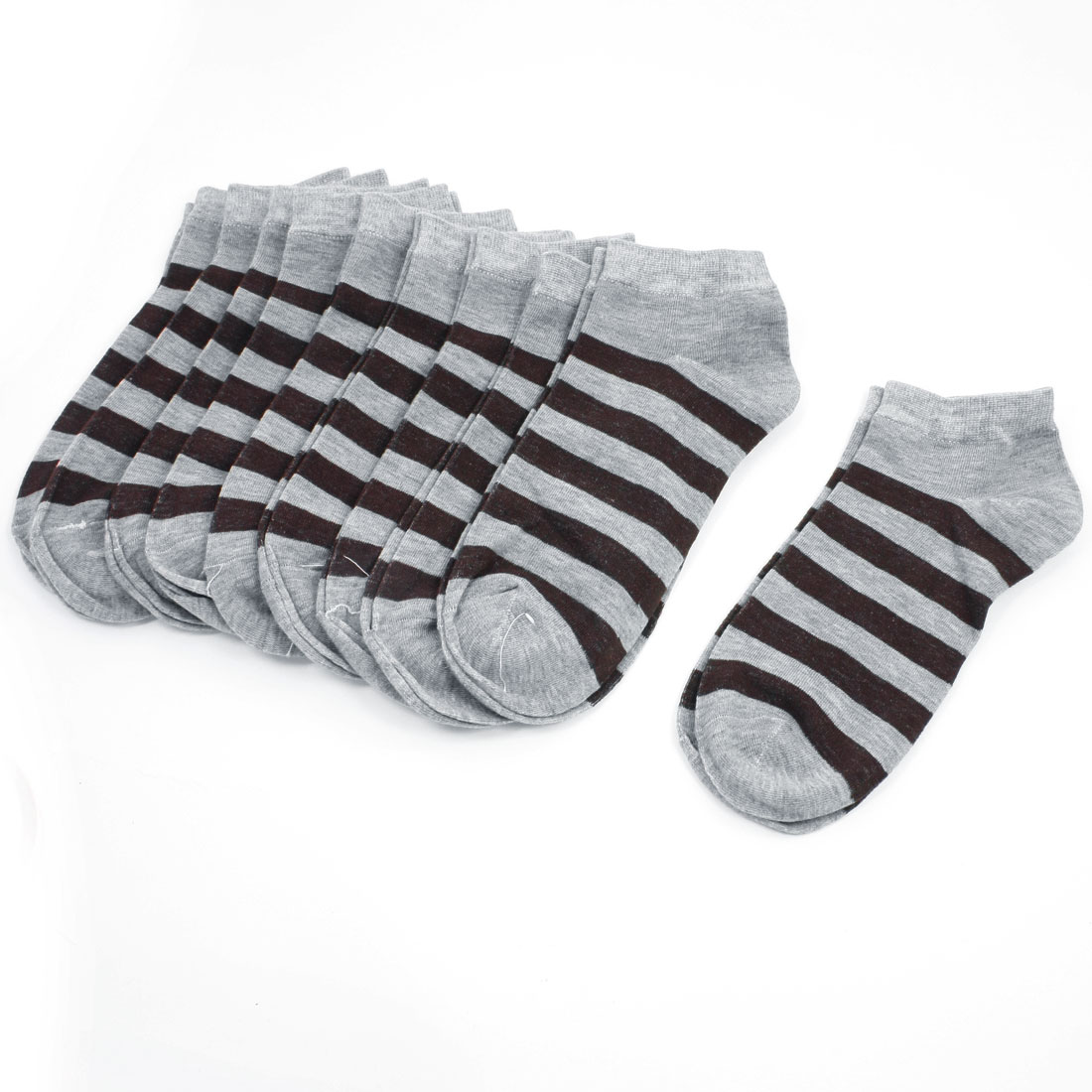 Lady Brown Stripes Pattern Short Low Cut Sports Socks Gray 10 Pairs