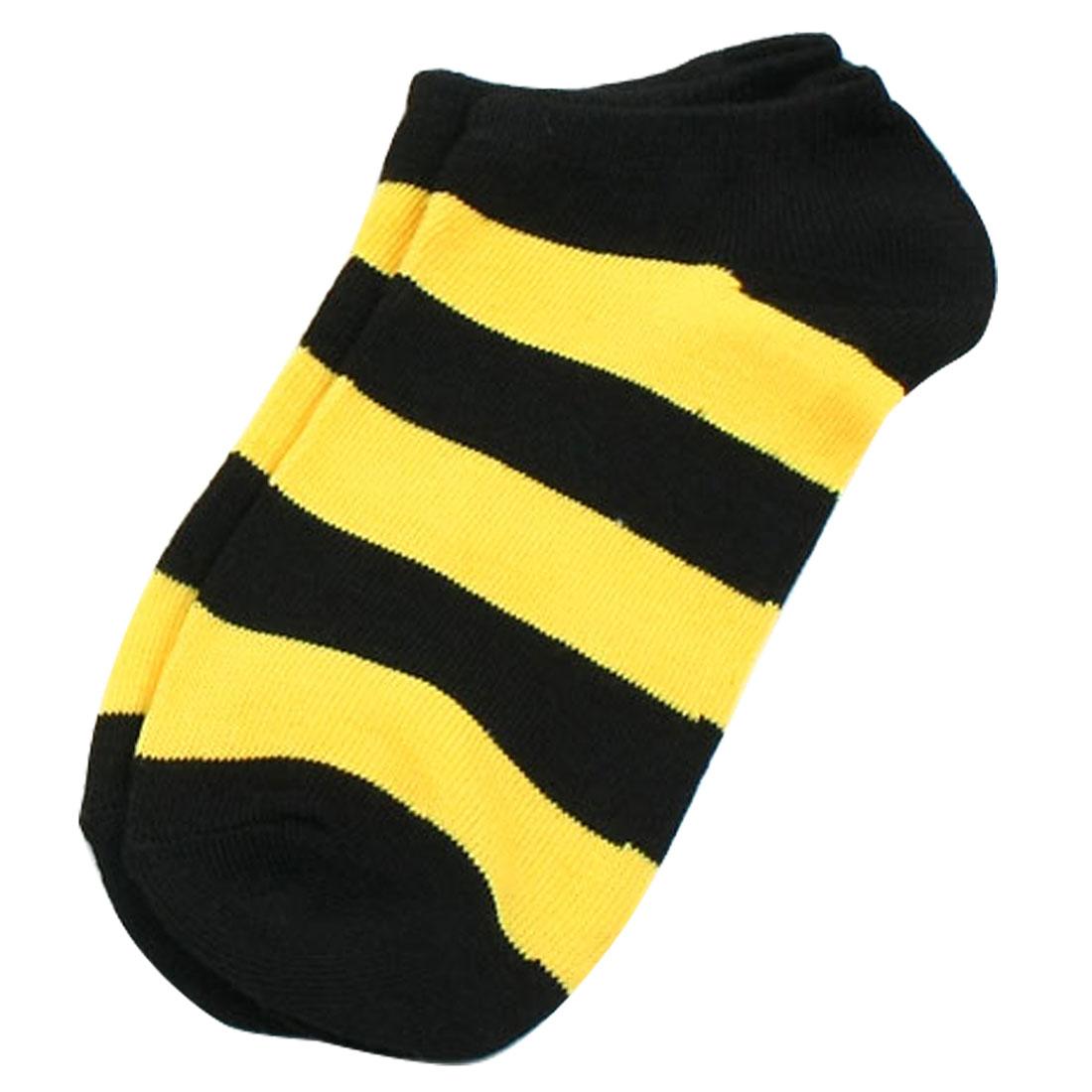 10 Pairs Leisure Stripe Printed Elastic Low Cut Socks Yellow Black for Girls
