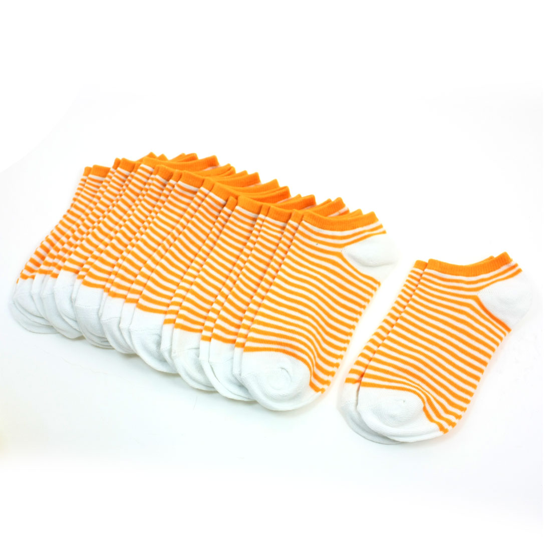 10 Pair Leisure Girl Stripe Decor Stretch Ankle Low Cut Socks Orange White