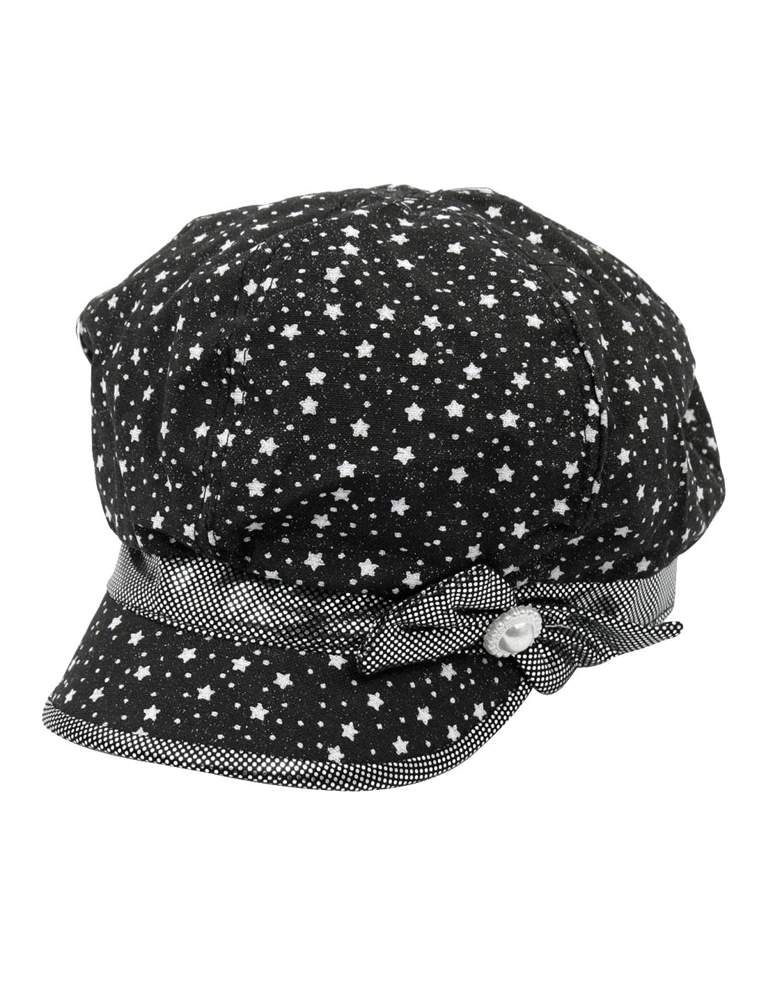 Stars Dots Printed Bowtie Decor Casquette Cap Hat Black Size L for Lady