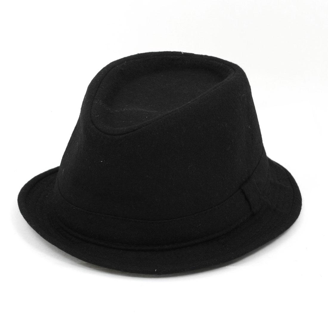 11cm Depth Brim Stitching Cloche Bucket Hat Black for Man Men