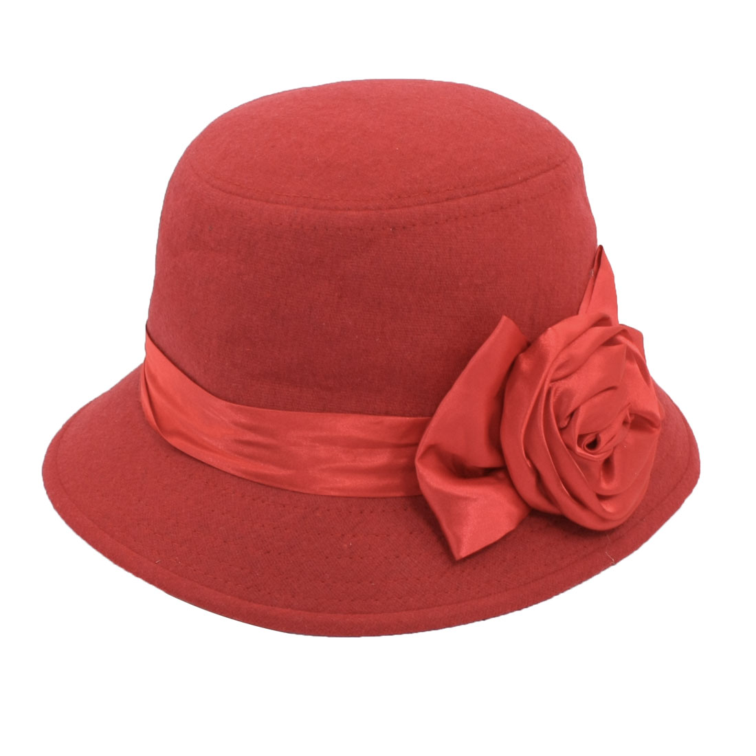 Ladies Women Outdoor Rose Ribbon Decor Red Cloche Bucket Bell Hat