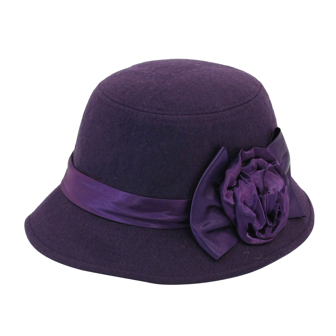 Flower Bowtie Detail Top Stitching Cloche Bucket Hat Purple for Lady