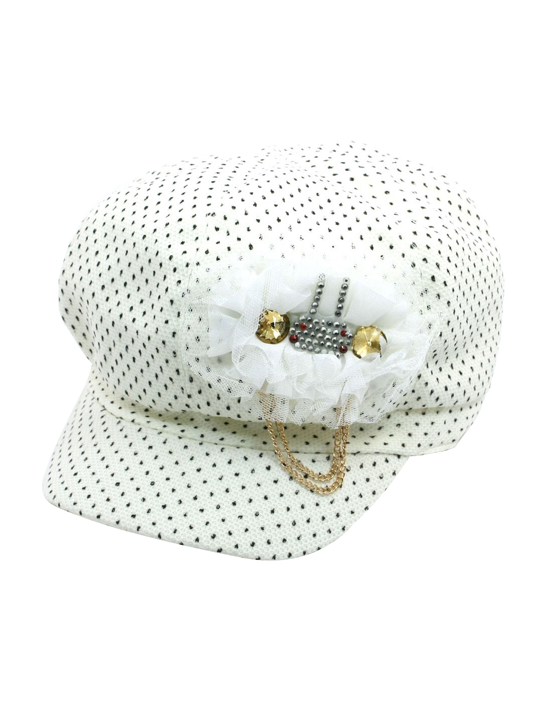 Ladies Dots Embellished Textured Casual Cap Casquette Hat Off White Size L