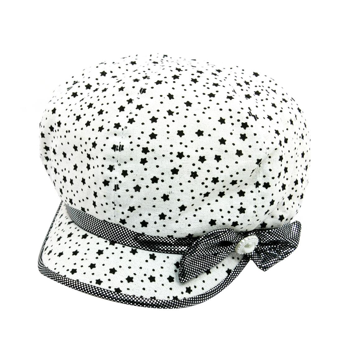 Woman Bowtie Decor Star Dot Pattern Casual Cap Casquette Hat White Size L