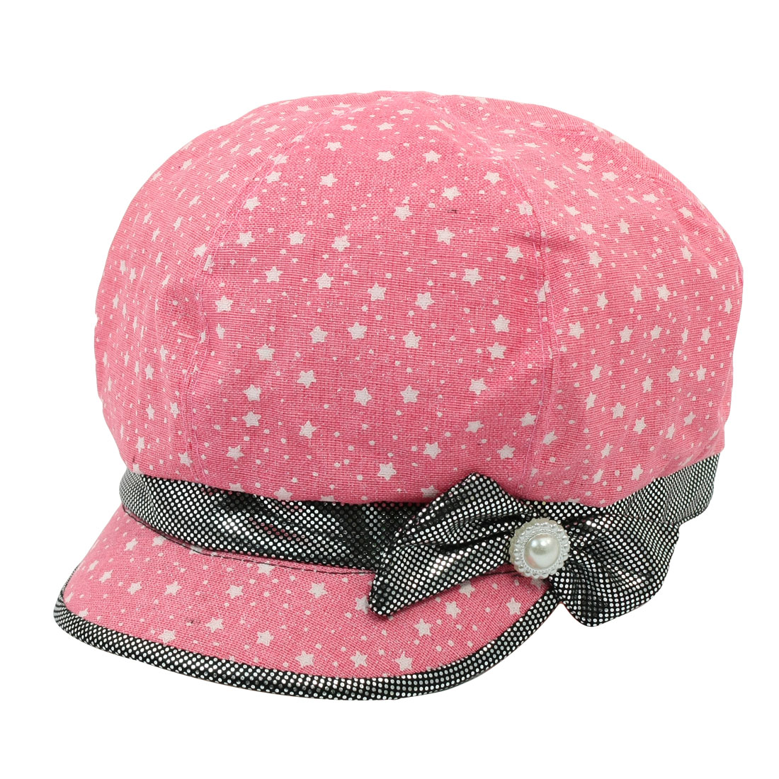 Woman Bowtie Decor Star Dot Pattern Casual Cap Casquette Hat Pink Size L
