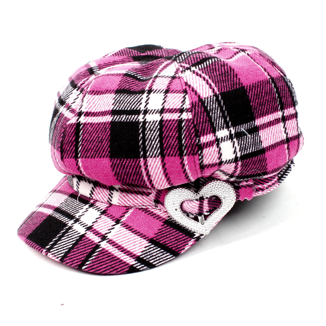 Black Pink Grid Pattern Heart Accent Casual Hat Cap XL for Women