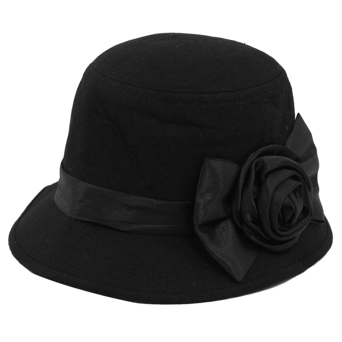 Women Travel Flower Bowtie Ribbon Accent Cloche Bucket Hat Cap Black