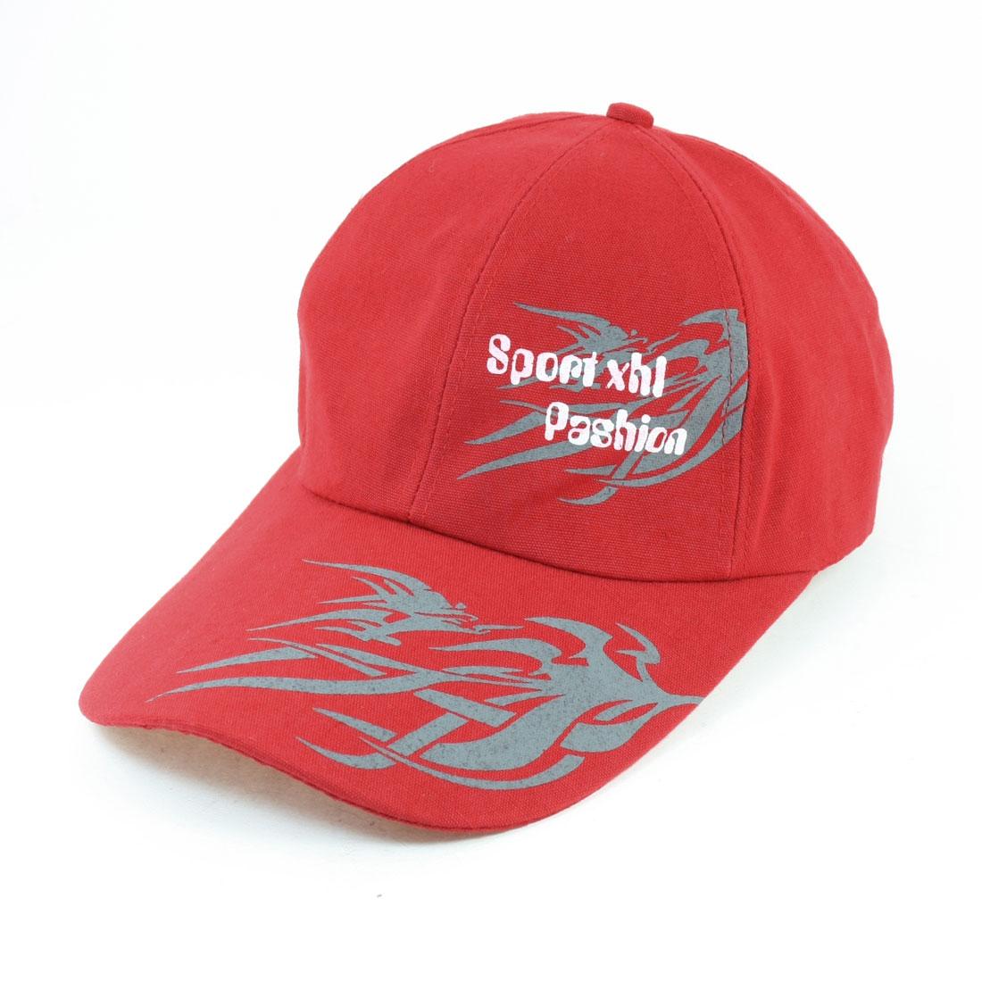 Ladies Man Men Sports Letter Flame Pattern Adjustable Sun Visor Cap Red