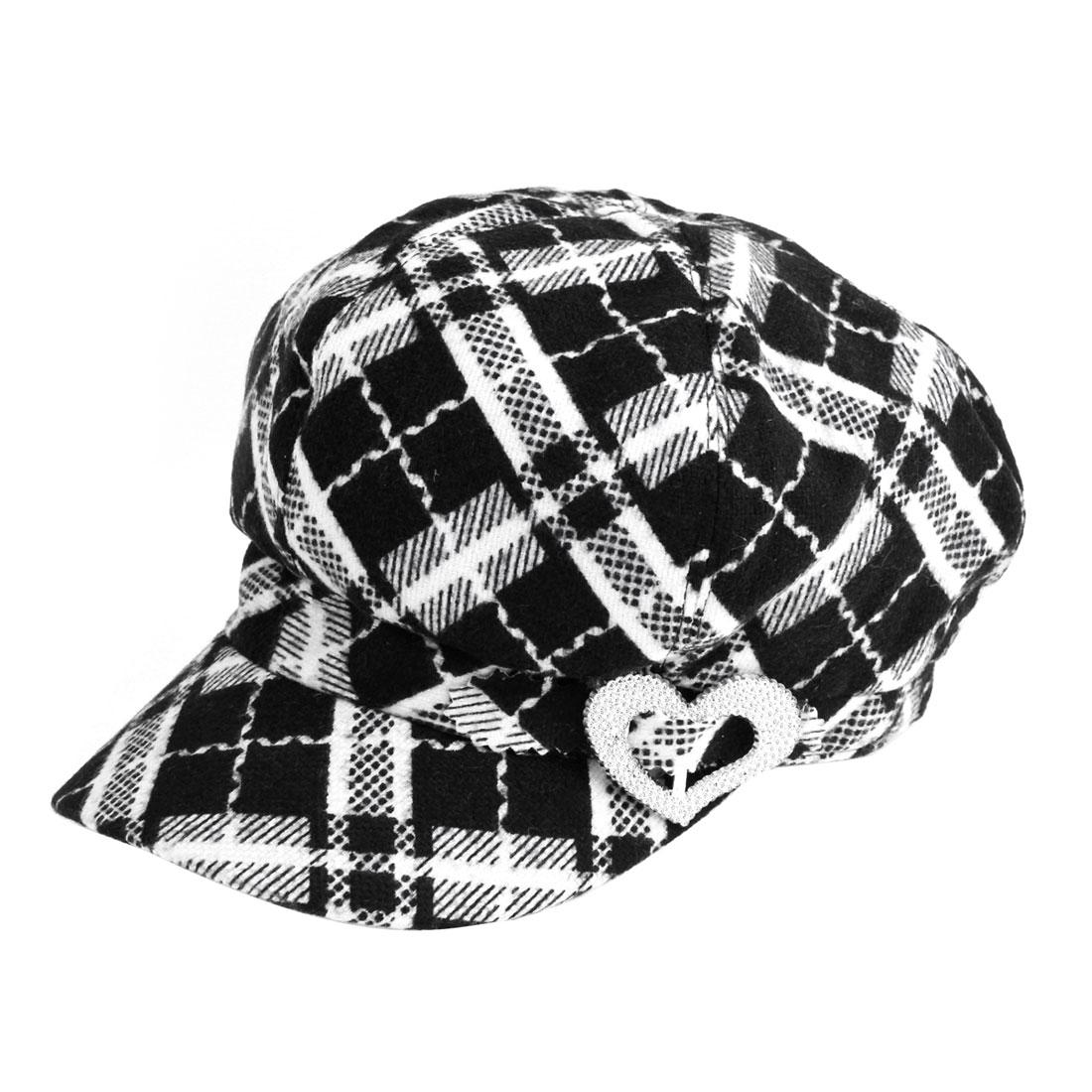 Black White Grid Pattern Plastic Heart Accent Visor Hat XL for Women
