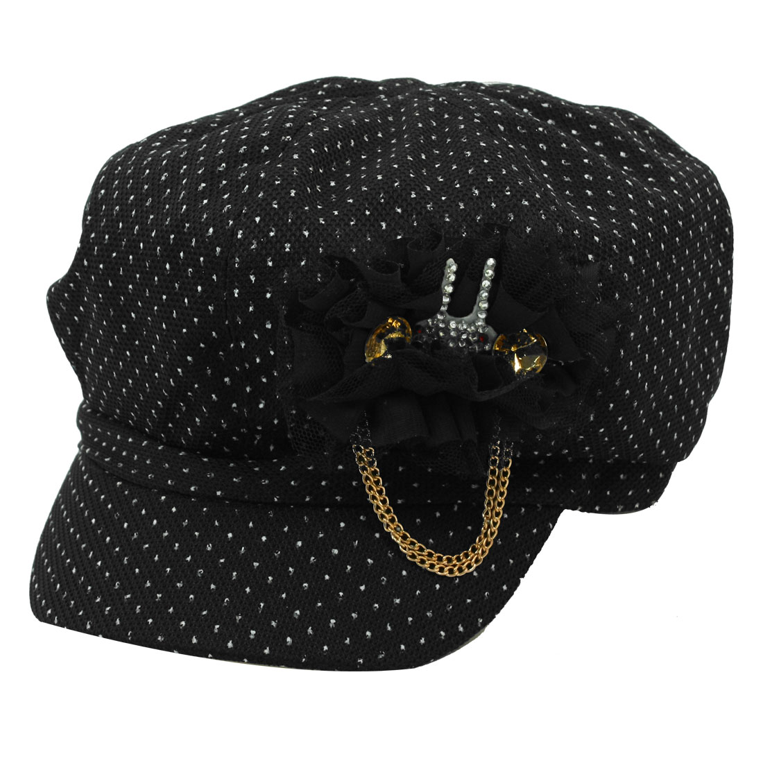 Ladies Dots Embellished Textured Casual Cap Casquette Hat Black Size L