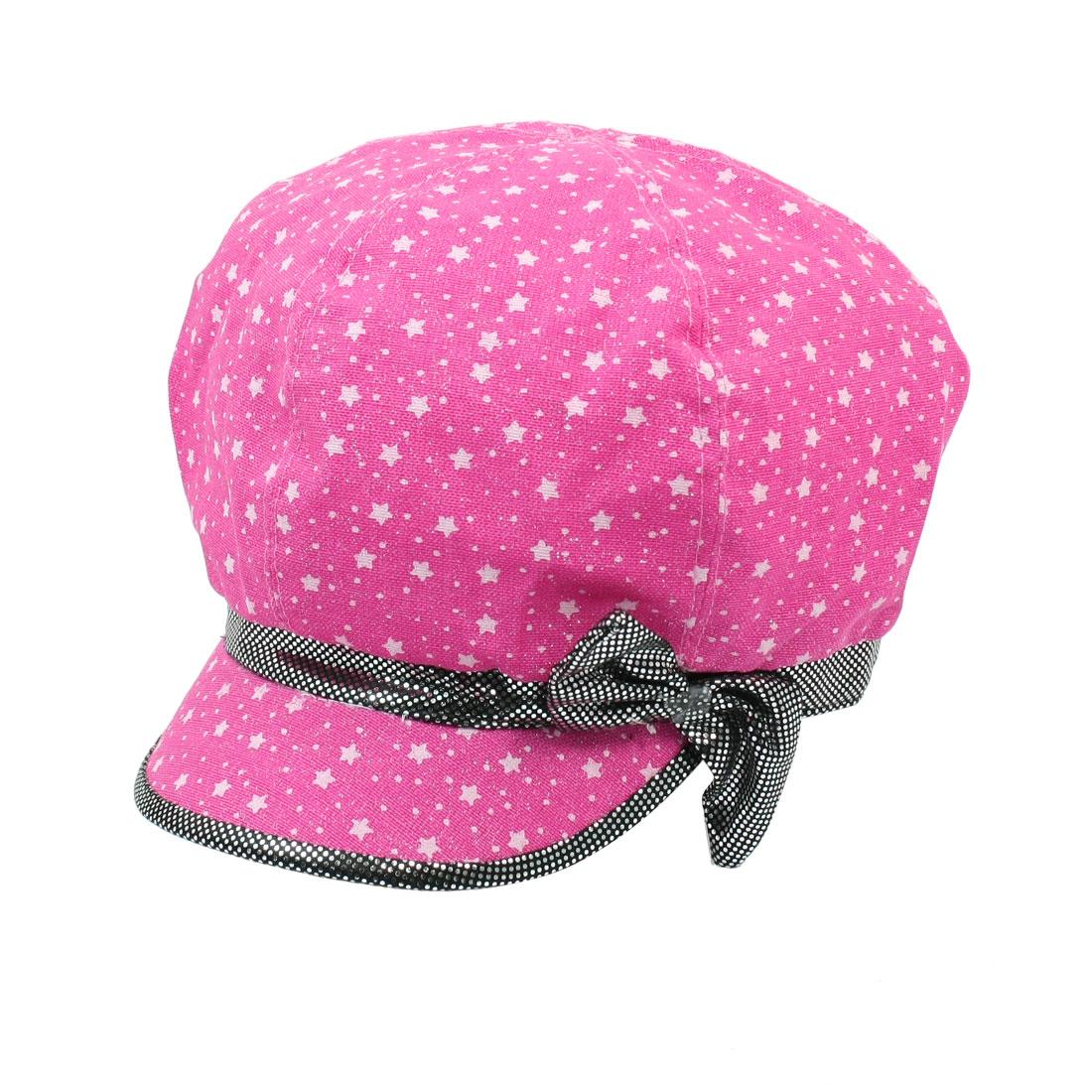 Stars Dots Bowtie Printed Cap Casual Casquette Hat Fuchsia Size L for Ladies
