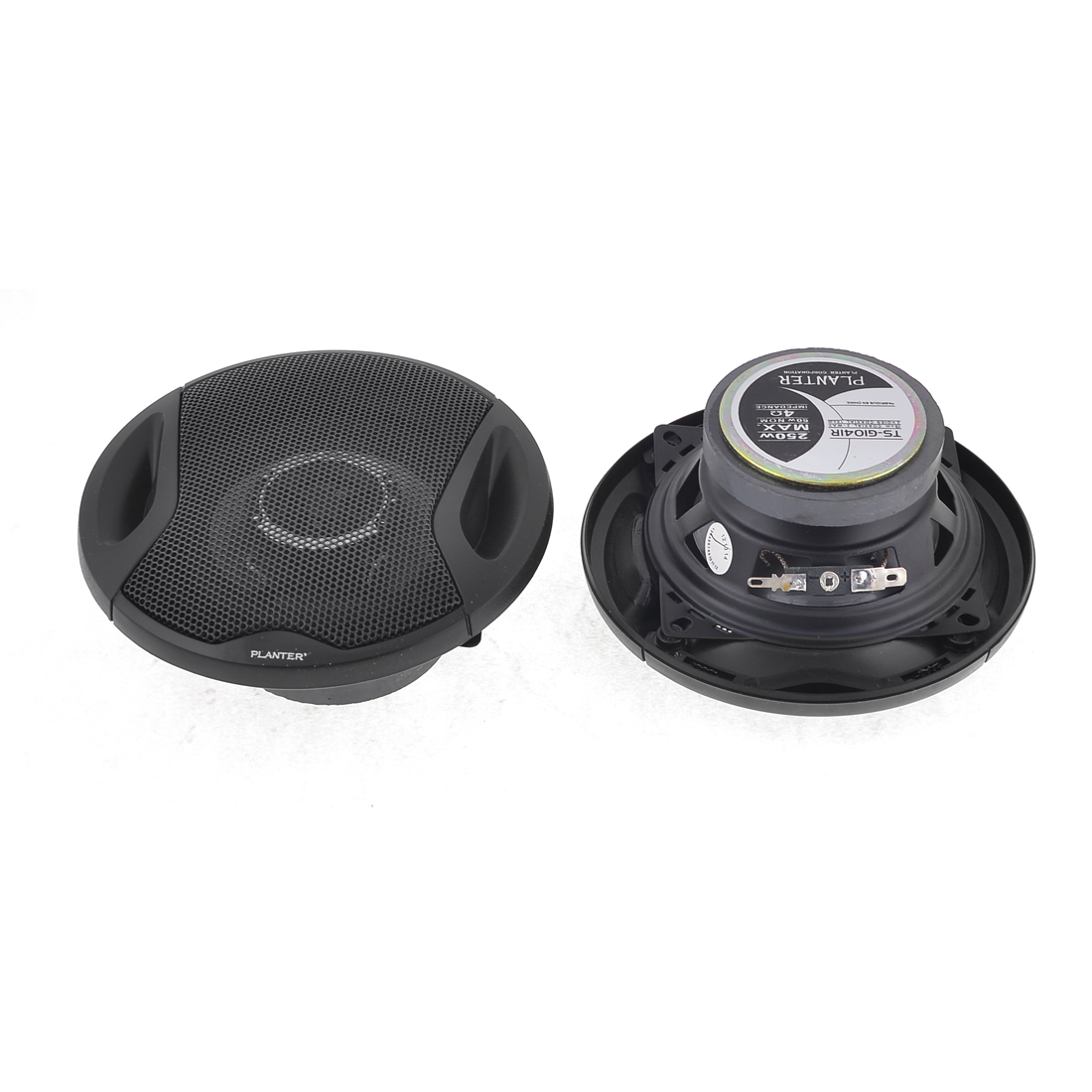 2 Pcs Black Auto Car Audio System 10cm Dia 2-Way Coaxial Speaker 250W Max.