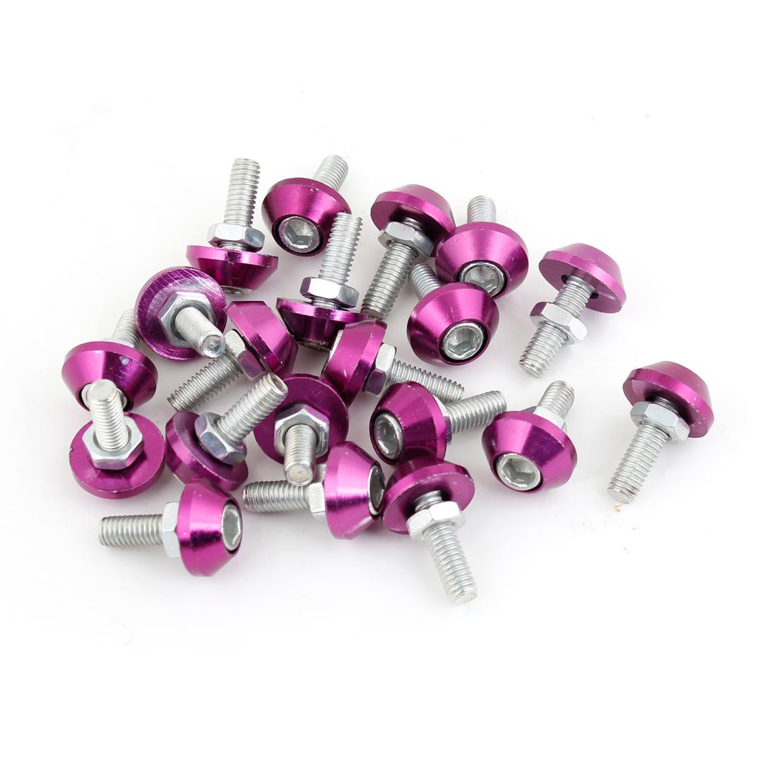 20 Pcs M6 Thread Diameter Repair Parts Tyre Tire Screw Purple for Car