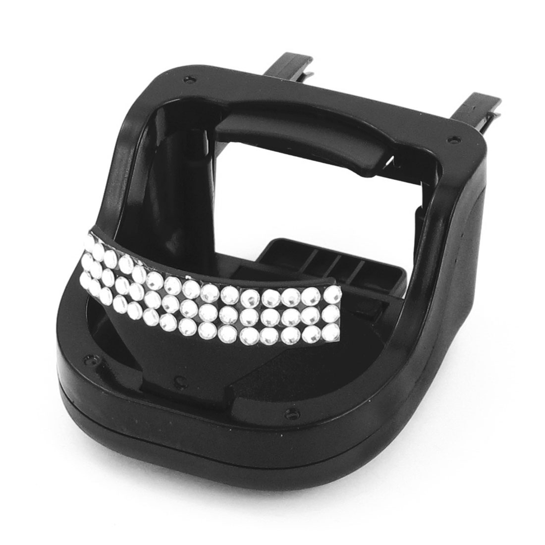 Vehicle Car Black Plastic Rhinestone Decor Cup Drink Bottle Holder