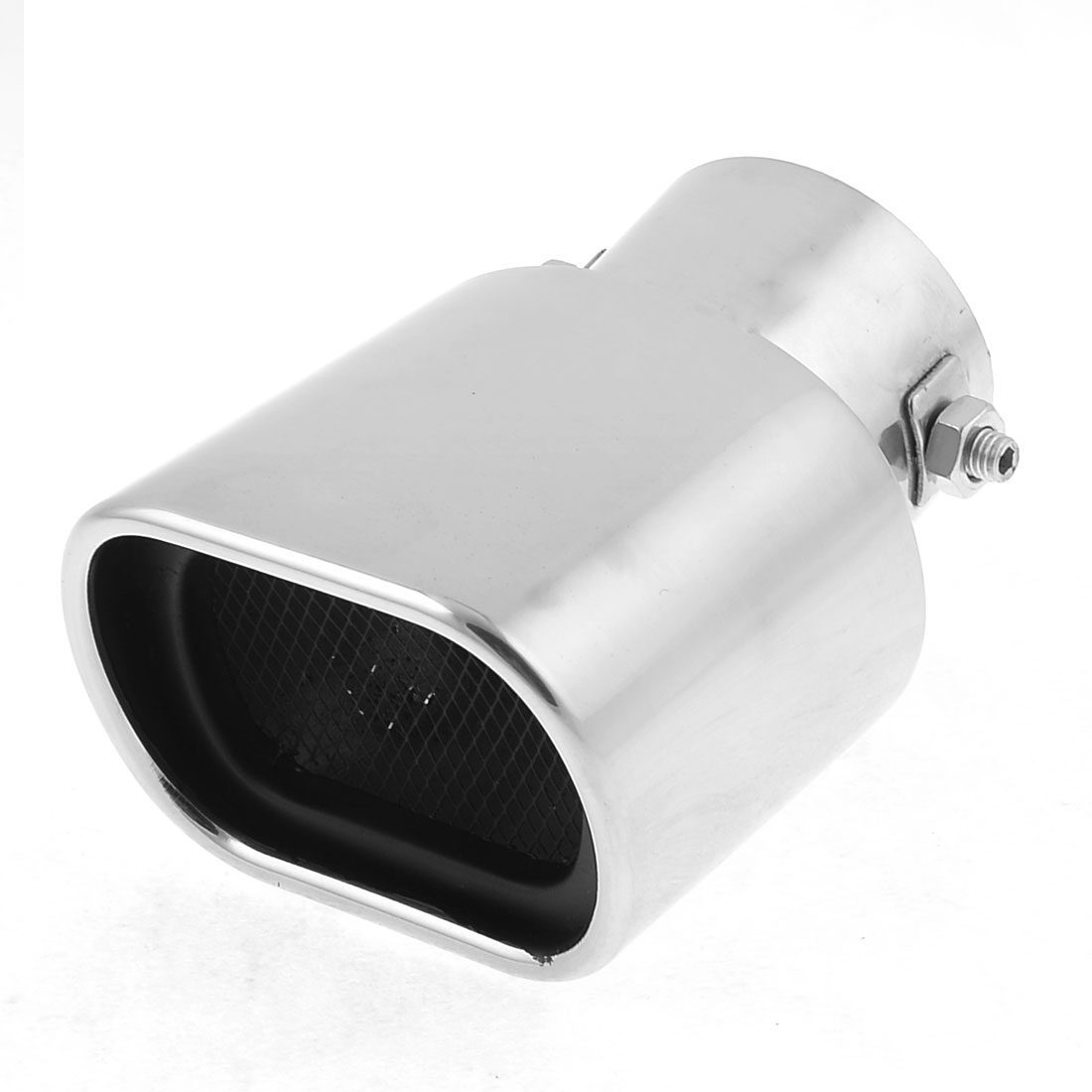 Car Rectangel Outlet Stainless Steel Bending Exhaust Muffler Pipe Silver Tone