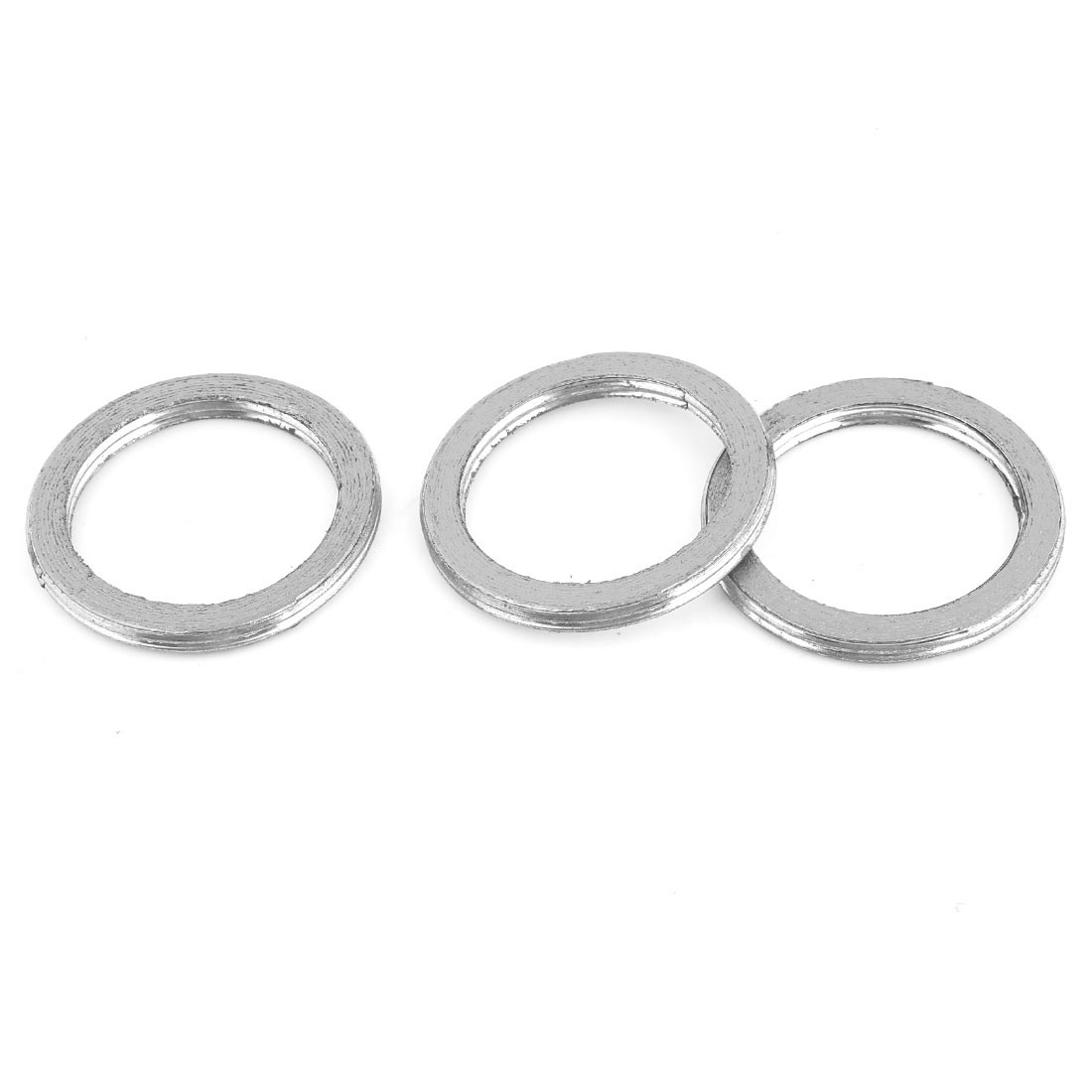 3 Pcs Vehicle Aluminum 40mm Inside Dia Engine Silencer Exhaust Gasket Assembly