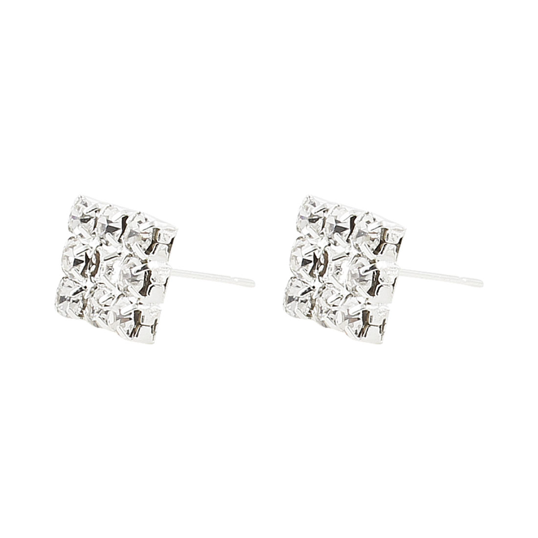 Pair Faux Rhinestones Decor Square Shaped Silver Tone Stud Earrings for Lady