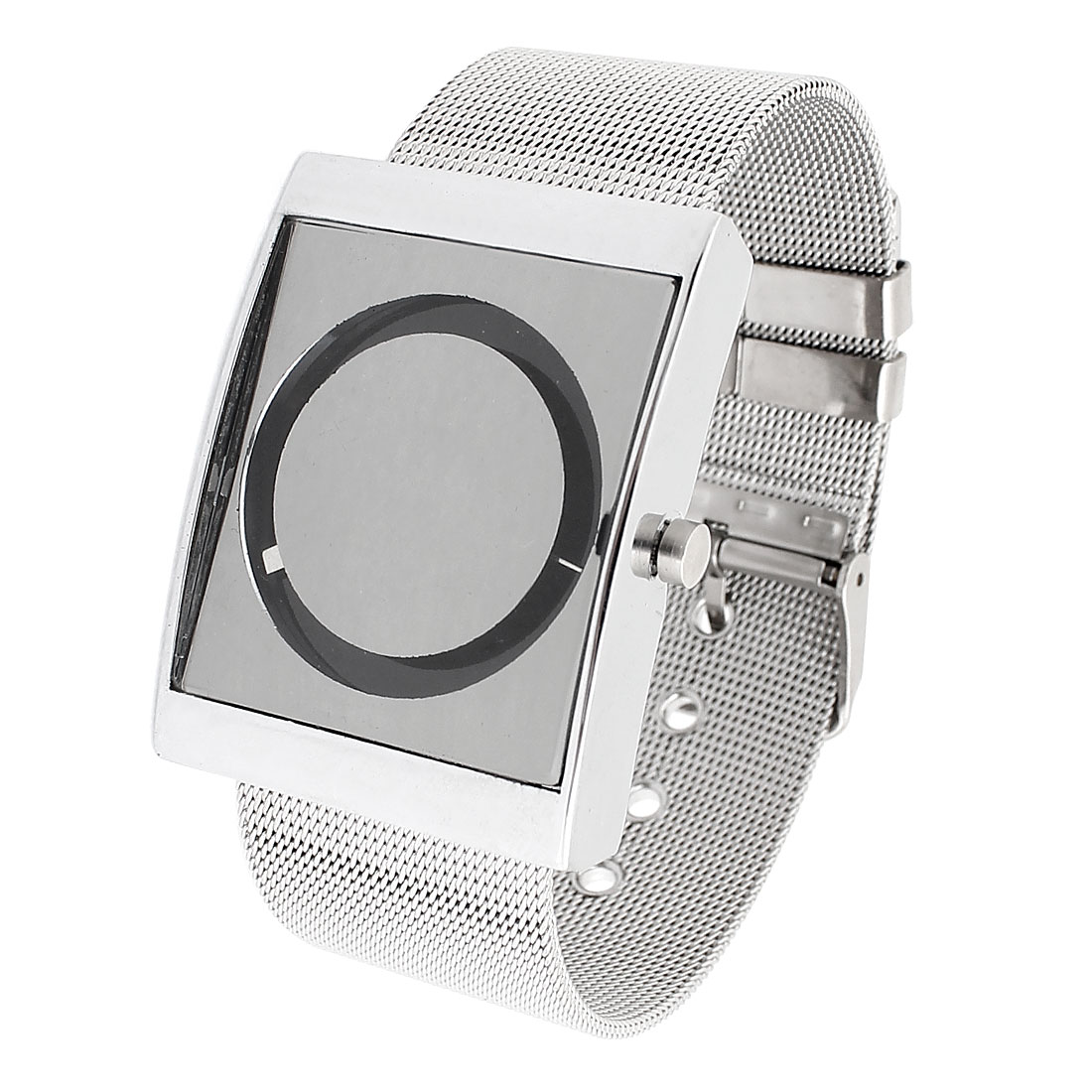 Silver Tone Stainless Steel Adjustable Band Quartz Wrist Watch for Ladies
