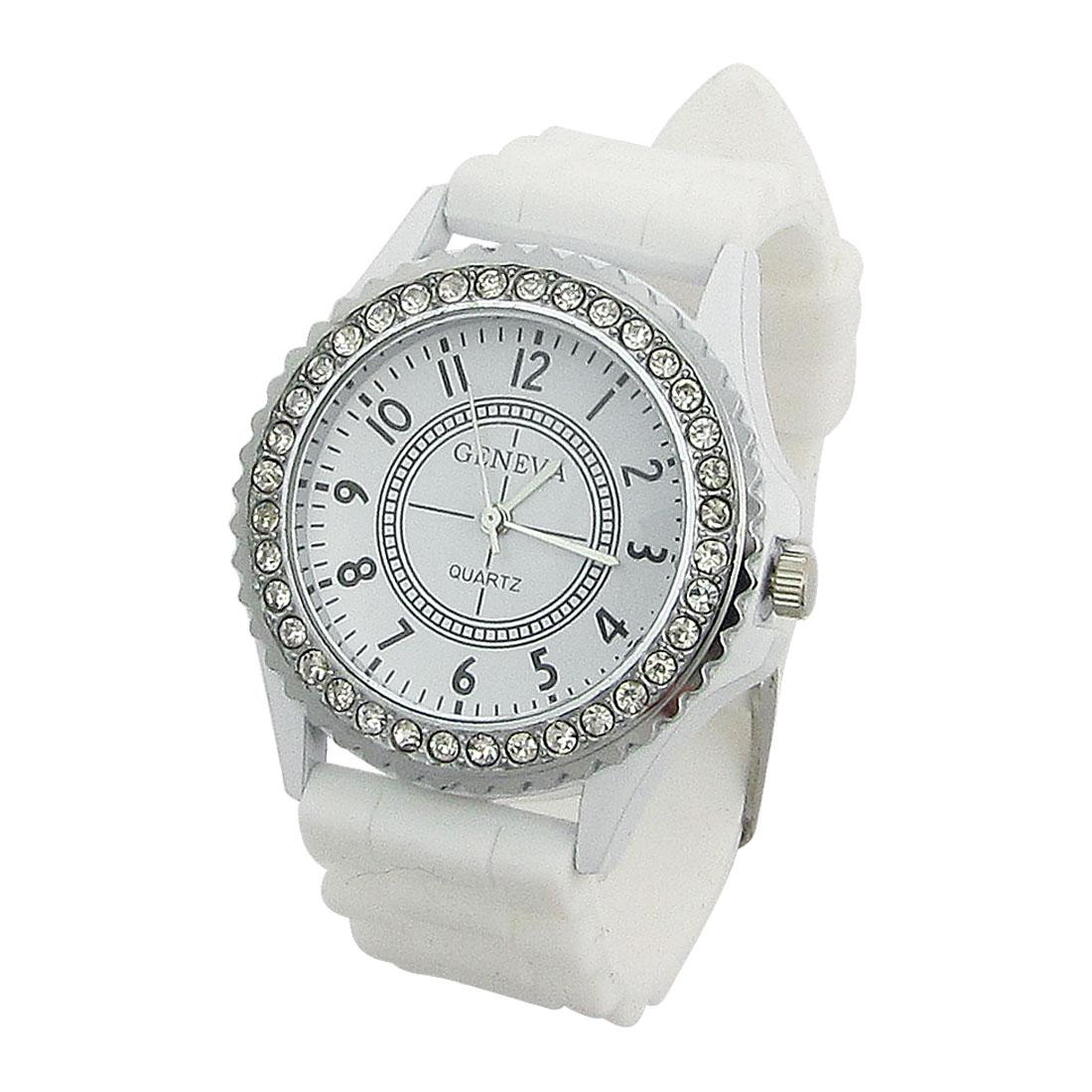 Lady Faux Rhinestone Inlaid Dial Adjustable Band Quartz Watch White