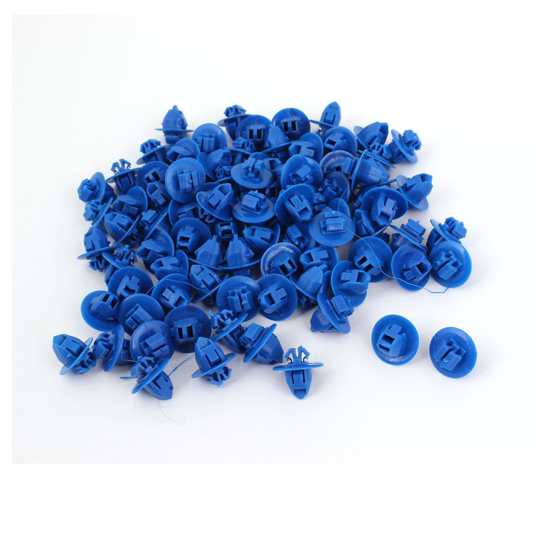 100 Pcs 9 x 8mm Hole Size Blue Plastic Rivet Door Push Fastener for Honda