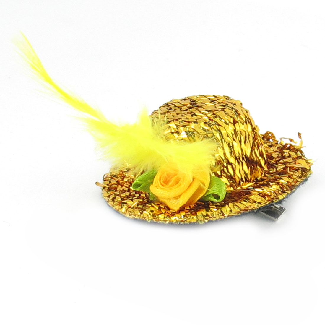 Women Gold Tone Homburg Hat Design Fllower Decor Alligator Hairclip