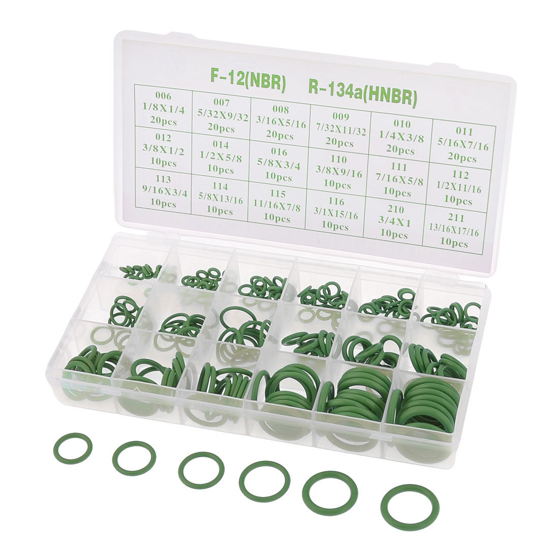 Car Green Air Conditioning O Ring Shape Seal Coupling Assortment 240 Pcs w Case