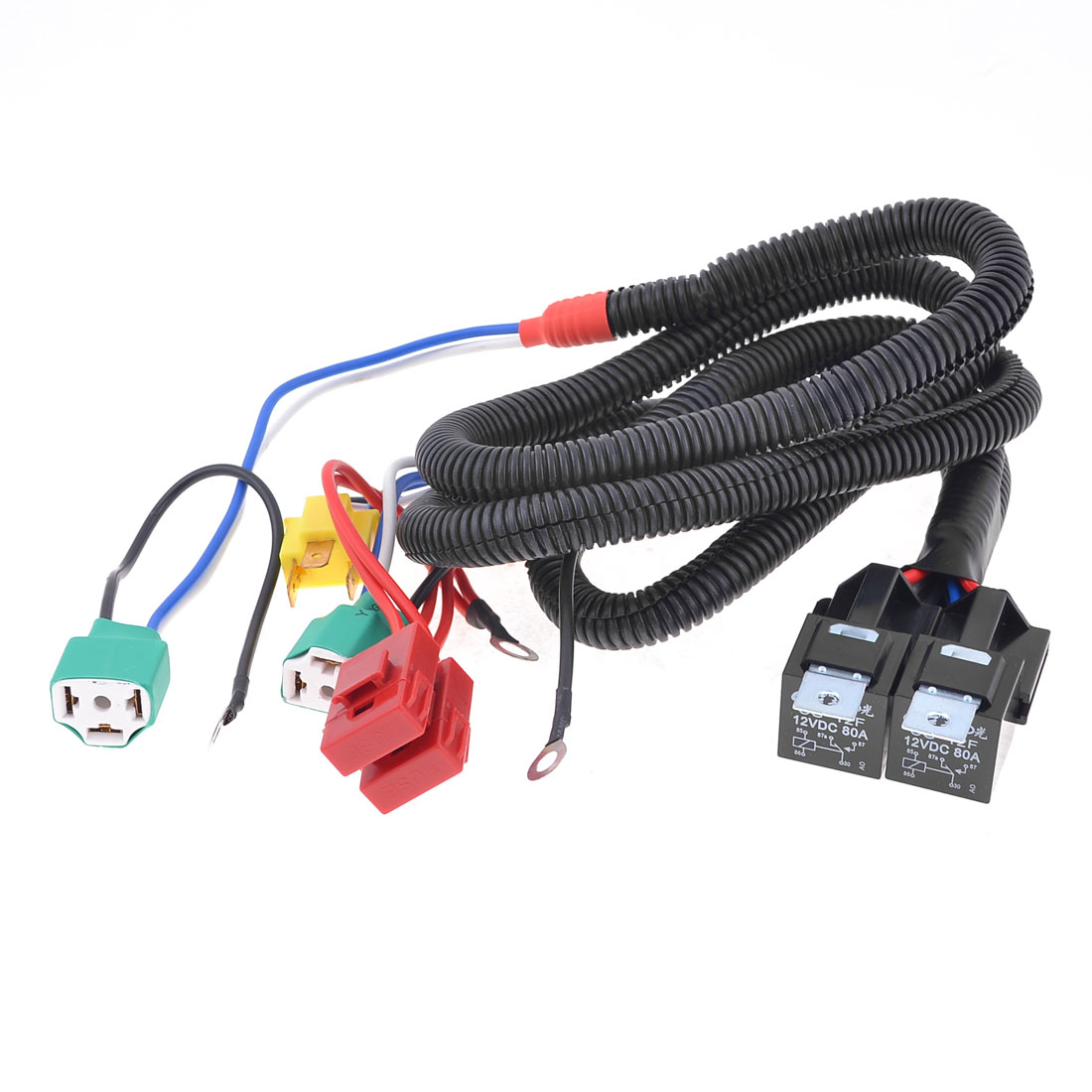 Auto Car 30A Fuse 2 H4 HID Headlight Female Connector Relay Harness Wire
