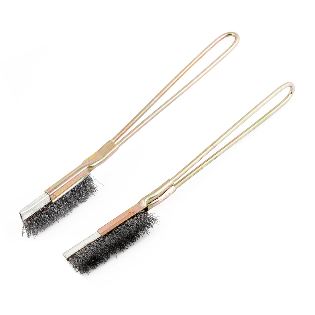 2 Pcs Bronze Tone Stainless Steel Handle Cleaning Brushes for Car Engine