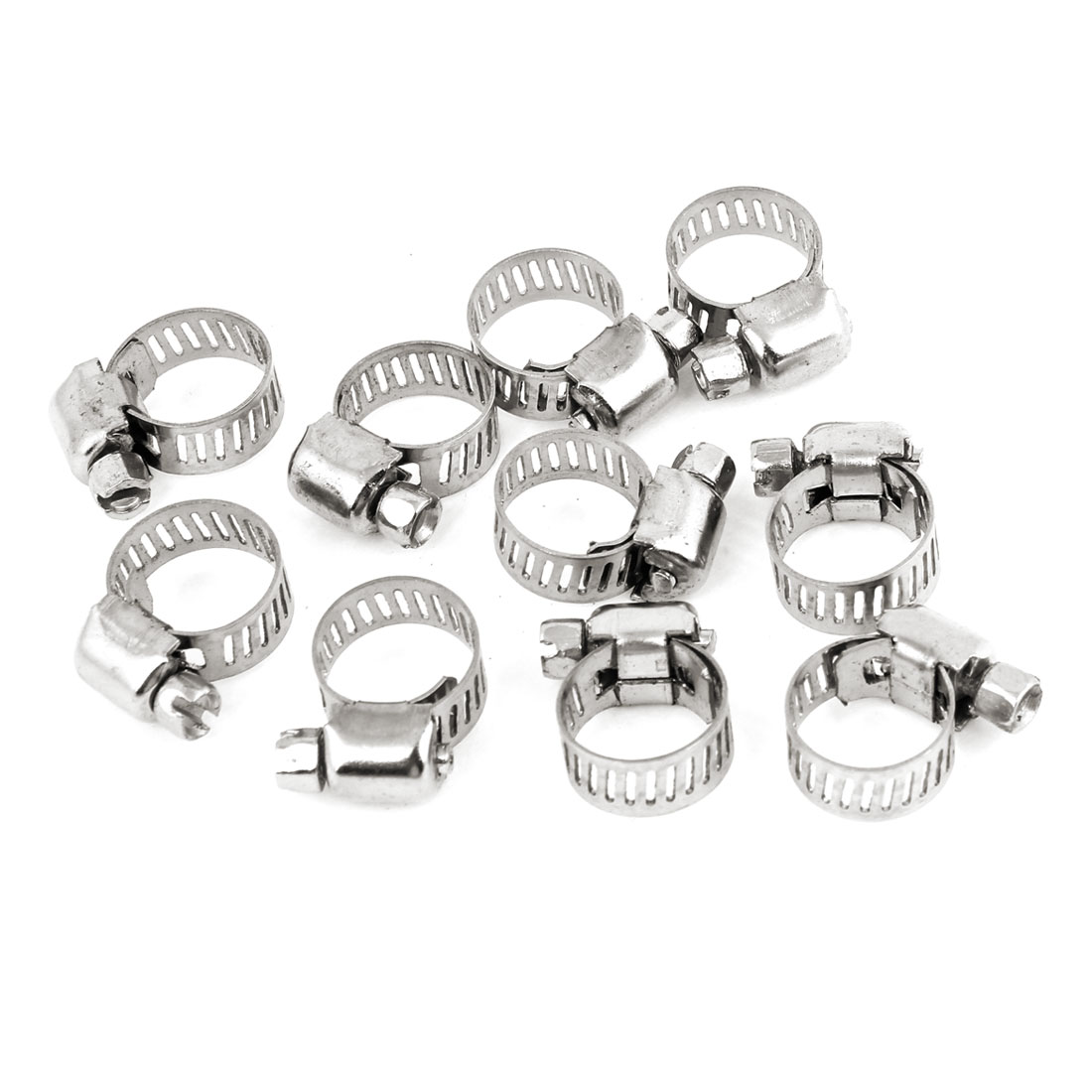 10 Pcs Silver Tone Adjustable Metallic 13mm to 19mm Pipes Hose Clamp Clip