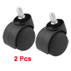 2pcs Black 50mm Diameter Twin Wheel Swivel Caster for Carts Office Chair