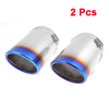 "2 Pcs Blue Silver Tone 3.7"" Inlet Dia Stainless Steel Exhaust Muffler Tip for Audi Q7"