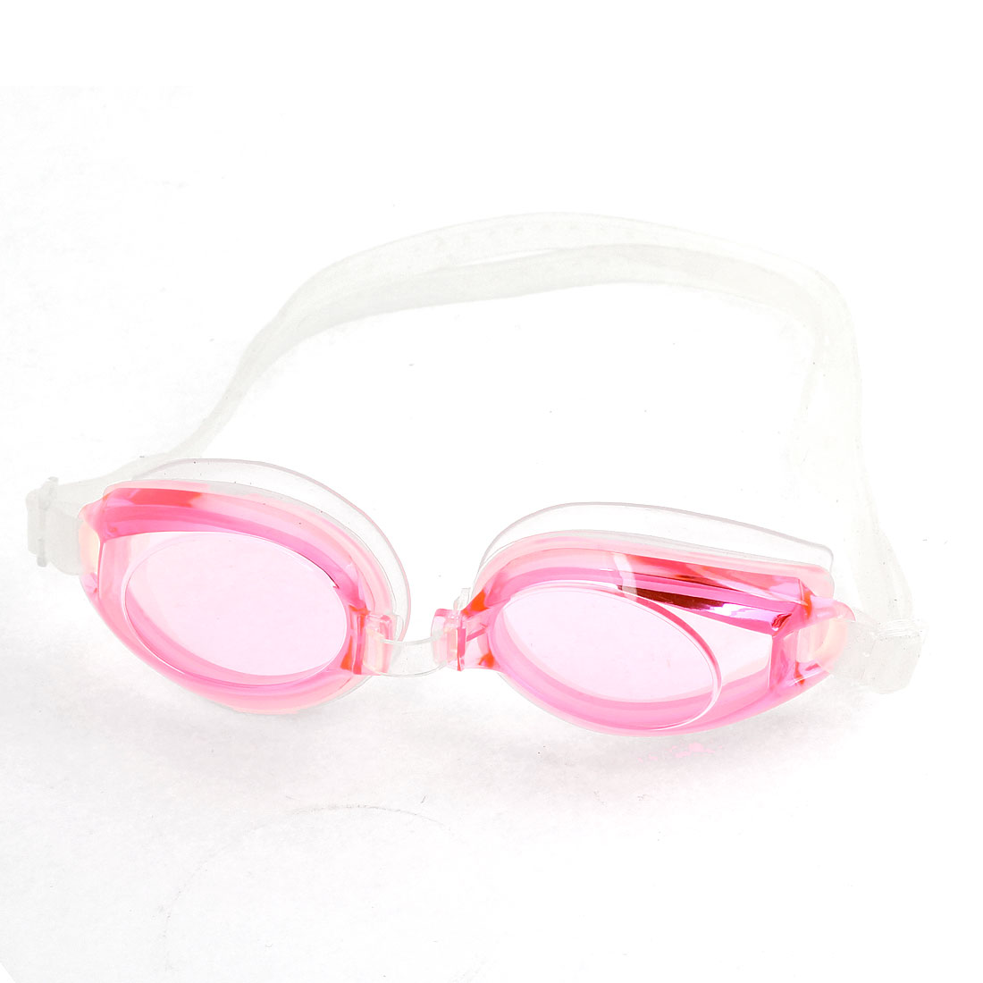 Children Silicone Stretch Strap Swimming Goggles Pink Clear