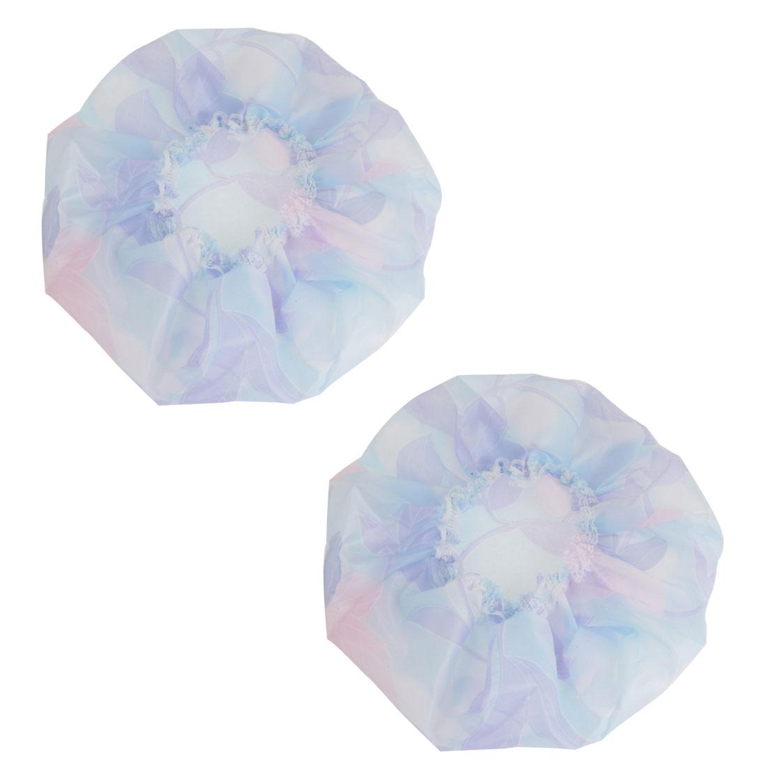 Woman Pale Blue Flower Pattern Water Resistant Lace Decor Shower Cap 2 Pcs