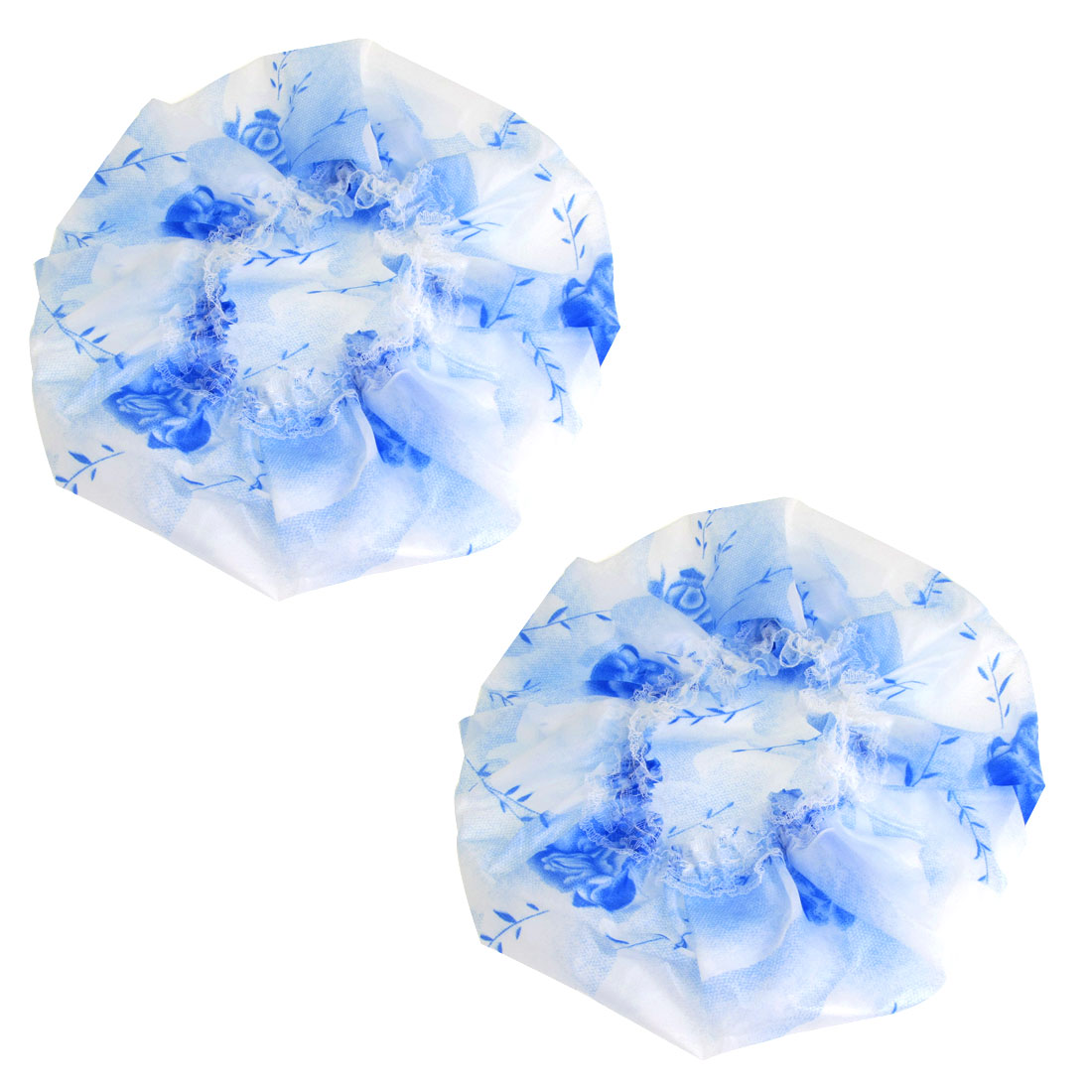 Woman Blue Rose Pattern Water Resistant Lace Brim Shower Cap White 2 Pcs