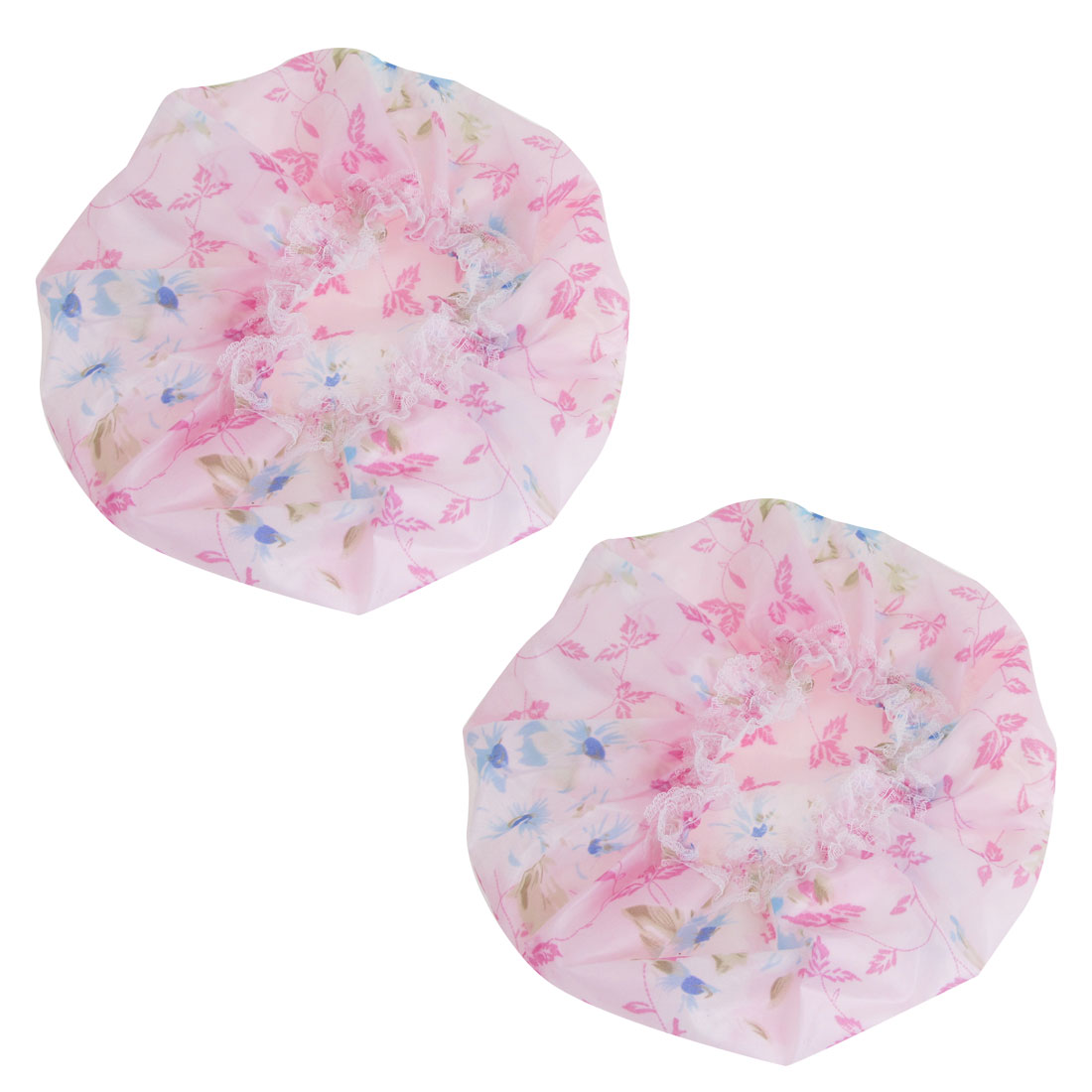 2 Pcs Pink Blue Water Resistant Nylon Lace Accent Shower Cap for Woman