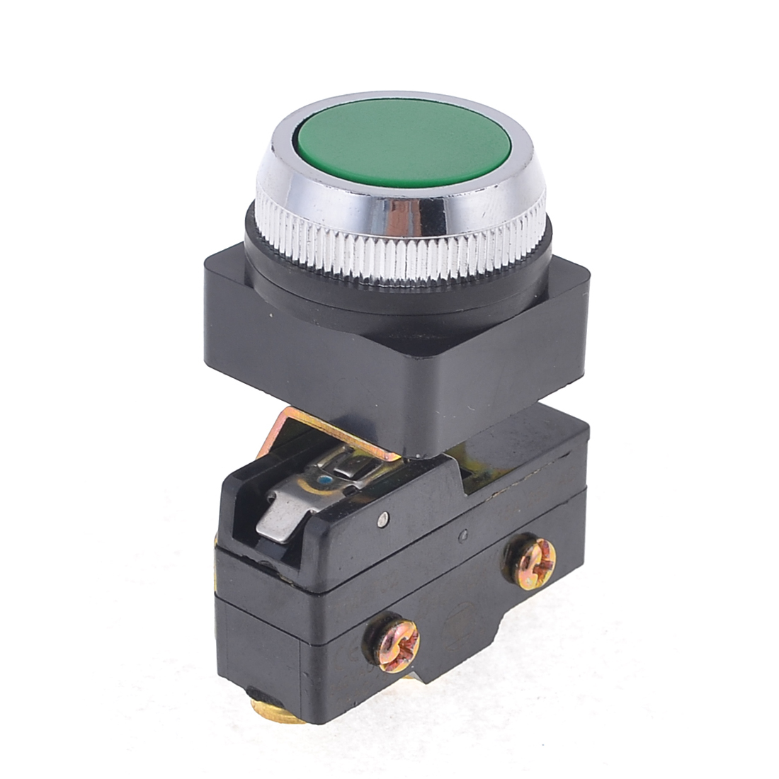30mm Thread Green Pushbutton Momentary Micro Switch 15A/250VAC 1NO 1NC