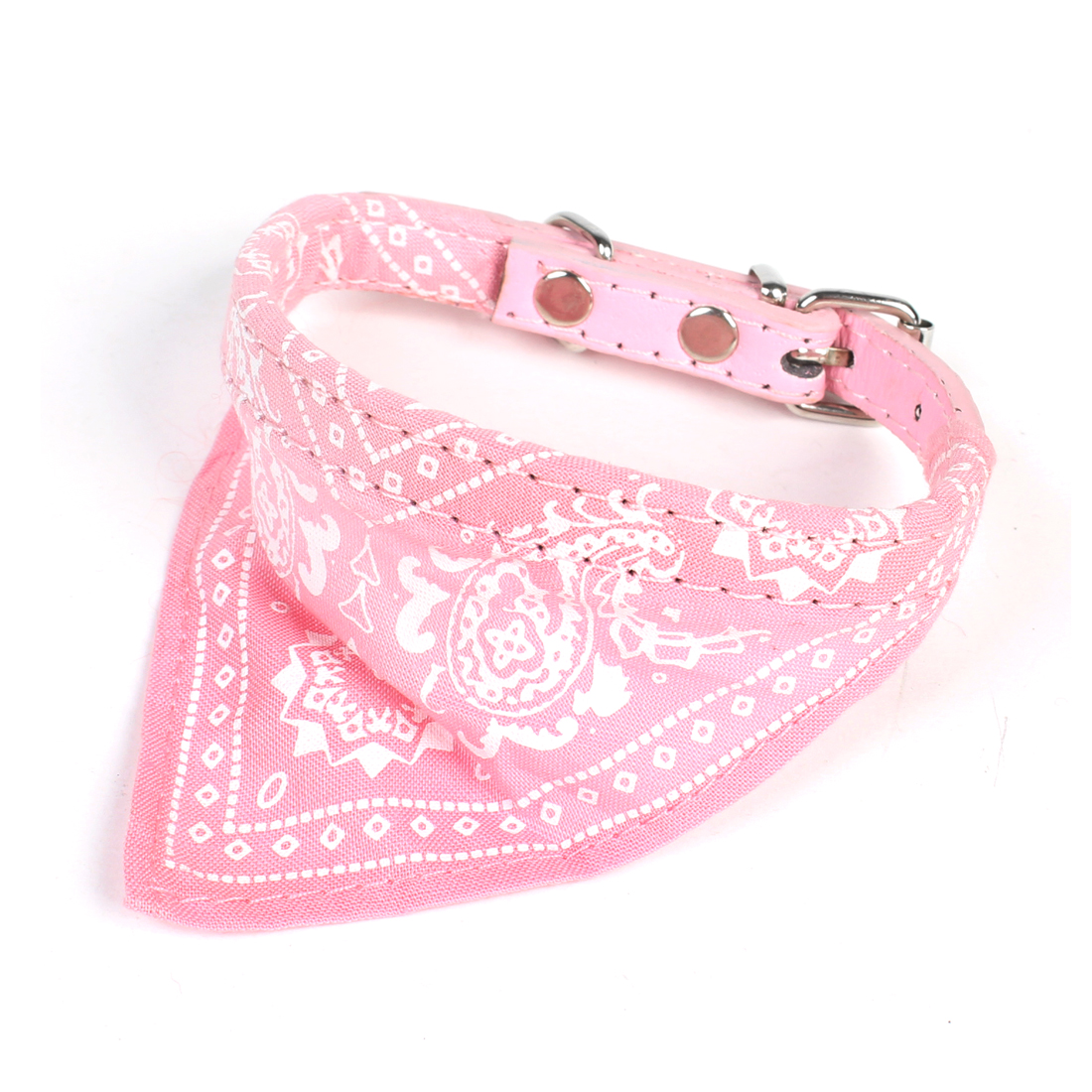 Pink Paisley Print Single Pin Buckle Adjustable Pet Dog Scarf Bandana Collar