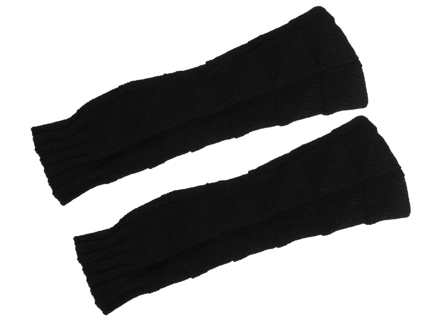 Ladies Black Knitted Ribbed Arm Warmmers Thumbhole Long Fingerless Gloves Pair