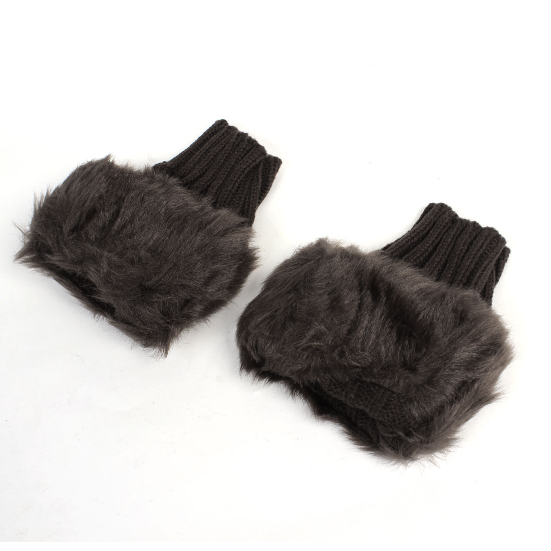 Women Winter Faux Fur Knitted Hand Palm Warm Fingerless Gloves Pair Dark Brown