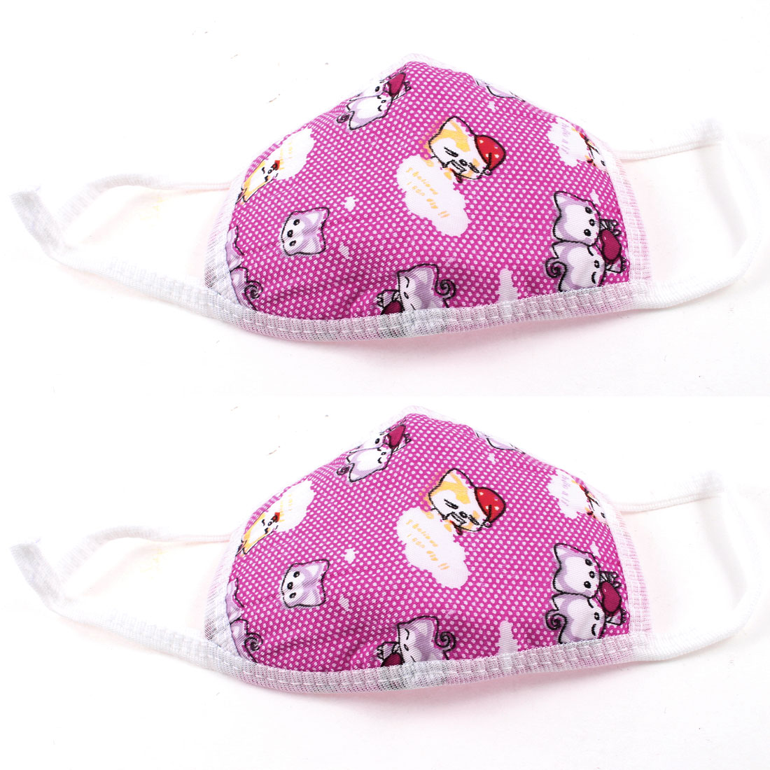 Child Winter Outdoor Dust Proof Stretchy Strap Earloop Face Mask Fuchsia 2 Pcs